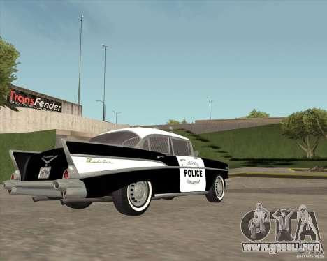 Chevrolet BelAir Police 1957 para GTA San Andreas vista hacia atrás