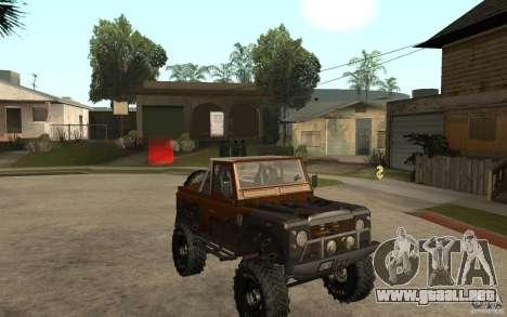 Land Rover Defender Extreme Off-Road para GTA San Andreas vista hacia atrás