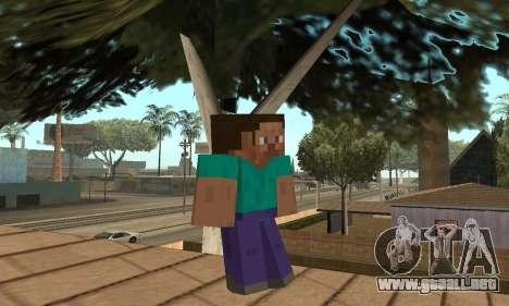 Steve de la piel de Minecraft juego para GTA San Andreas segunda pantalla