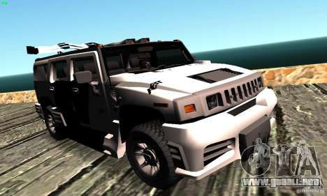 Hummer H2 Tunable para GTA San Andreas vista posterior izquierda