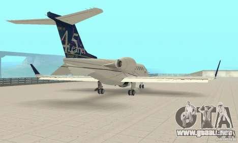 Bombardier Leardjet 45XR para GTA San Andreas vista posterior izquierda