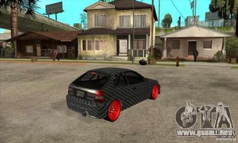 Honda Civic Carbon Latvian Skin para GTA San Andreas vista hacia atrás