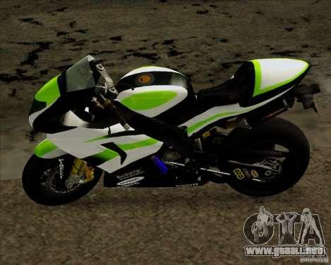 Kawasaki ZX-10R para GTA San Andreas vista posterior izquierda