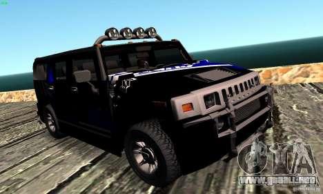 Hummer H2 Tunable para GTA San Andreas vista hacia atrás