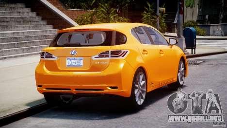 Lexus CT200h 2011 para GTA 4 vista lateral