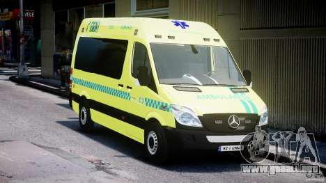 Mercedes-Benz Sprinter PK731 Ambulance [ELS] para GTA 4 vista hacia atrás