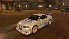 Nissan Skyline GT-R R34 2 Fast 2 Furious para GTA San Andreas