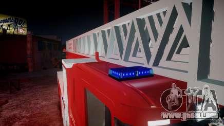Scania Fire Ladder v1.1 Emerglights blue-red ELS para GTA 4