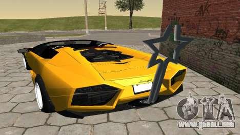 Lamborghini Reventon Shakotan para GTA San Andreas vista posterior izquierda