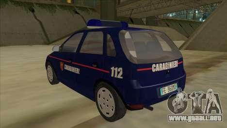 Opel Corsa 2005 Carabinieri para GTA San Andreas vista hacia atrás