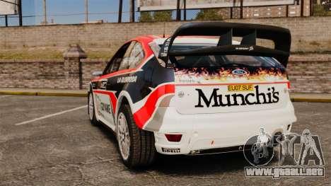 Ford Focus RS Munchis WRC para GTA 4 Vista posterior izquierda