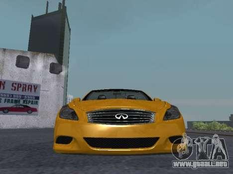 Infiniti G37 S Cabriolet para visión interna GTA San Andreas