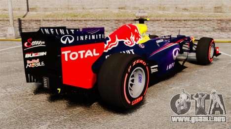 RB9 v6 auto, Red Bull para GTA 4 Vista posterior izquierda