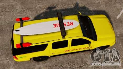 Chevrolet Suburban Los Santos Lifeguard [ELS] para GTA 4 visión correcta