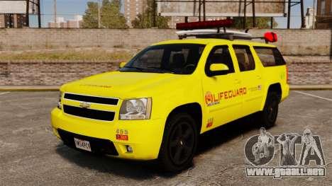 Chevrolet Suburban Los Santos Lifeguard [ELS] para GTA 4
