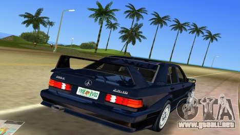 Mercedes-Benz 190E 1990 para GTA Vice City vista posterior