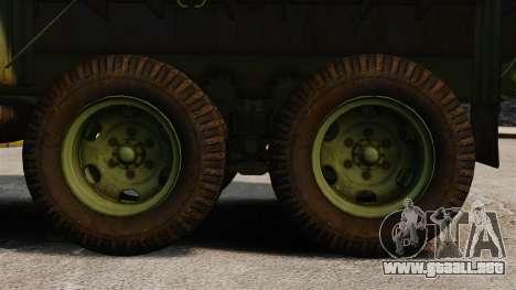 Militar básica del carro AM General M35A2 1950 para GTA 4 vista hacia atrás