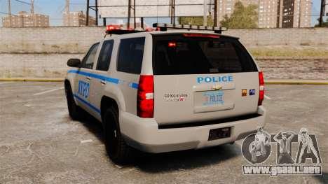 Chevrolet Tahoe 2007 NYPD [ELS] para GTA 4 Vista posterior izquierda