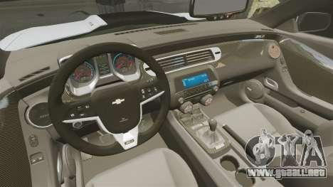 Chevrolet Camaro ZL1 2012 para GTA 4 vista interior