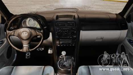 Lexus IS 300 para GTA 4 vista hacia atrás