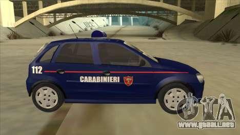 Opel Corsa 2005 Carabinieri para GTA San Andreas vista posterior izquierda