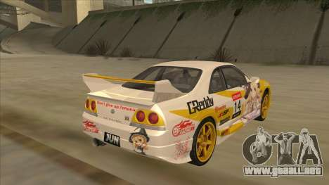 Nissan Skyline R33 Itasha para GTA San Andreas vista posterior izquierda