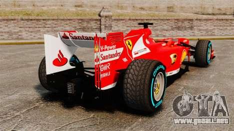 Ferrari F138 2013 v1 para GTA 4 Vista posterior izquierda