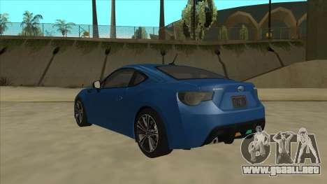 Subaru BRZ 2013 Tunable para GTA San Andreas vista hacia atrás
