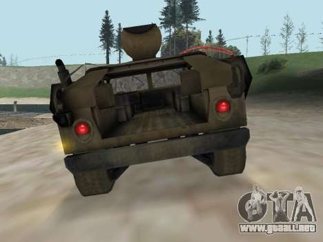Hamvee M-1025 de Battlefiled 2 para GTA San Andreas vista hacia atrás