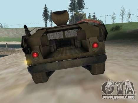 Hamvee M-1025 de Battlefiled 2 para GTA San Andreas vista hacia atrás