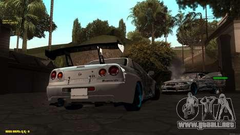 Nissan Skyline GTR 34 CIAY para GTA San Andreas vista posterior izquierda