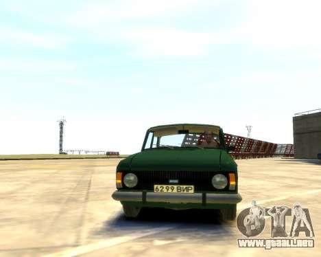 Moskvich 412 para GTA 4 Vista posterior izquierda
