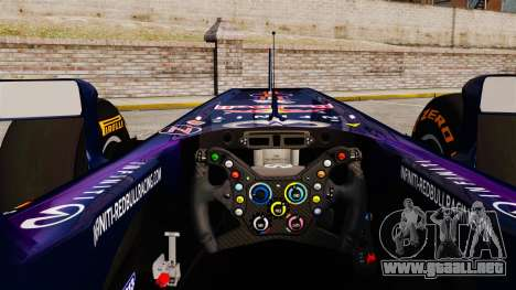 Coche, Red Bull RB9 v2 para GTA 4 vista hacia atrás