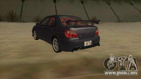 Subaru Impreza WRX STI Drift 2004 para GTA San Andreas vista hacia atrás