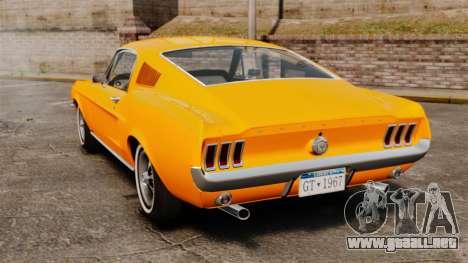 Ford Mustang 1967 Classic para GTA 4 Vista posterior izquierda
