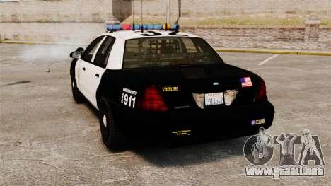 Ford Crown Victoria Police GTA V Textures ELS para GTA 4 Vista posterior izquierda
