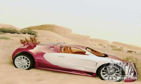 Bugatti Veyron 16.4 Concept para GTA San Andreas vista posterior izquierda