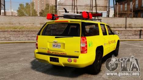 Chevrolet Suburban Los Santos Lifeguard [ELS] para GTA 4 Vista posterior izquierda