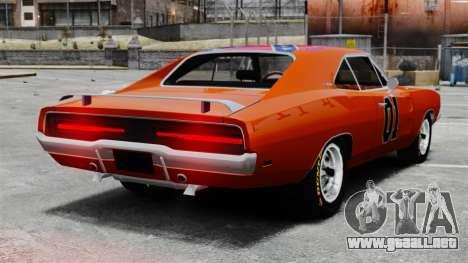 Dodge Charger 1969 General Lee v2 para GTA 4 Vista posterior izquierda