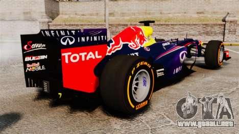 Coche, Red Bull RB9 v2 para GTA 4 Vista posterior izquierda