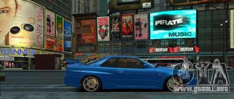 Nissan Skyline GTR-34 para GTA 4 Vista posterior izquierda