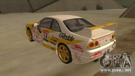 Nissan Skyline R33 Itasha para la visión correcta GTA San Andreas