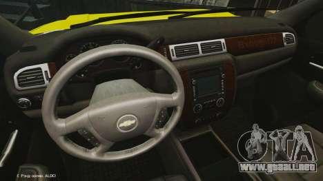 Chevrolet Suburban Los Santos Lifeguard [ELS] para GTA 4 vista hacia atrás