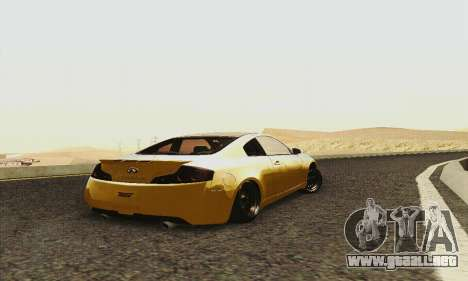Infiniti G35 Hellaflush para GTA San Andreas vista hacia atrás