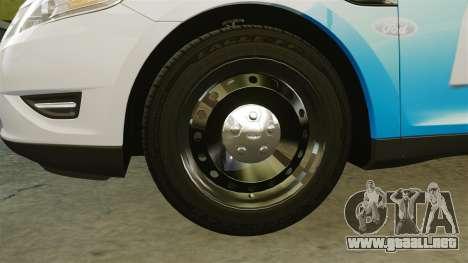 Ford Taurus 2010 Police Interceptor Detroit para GTA 4 vista hacia atrás