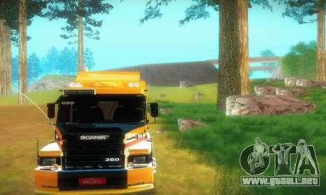 TopLine Scania 113 h 360 para GTA San Andreas vista hacia atrás