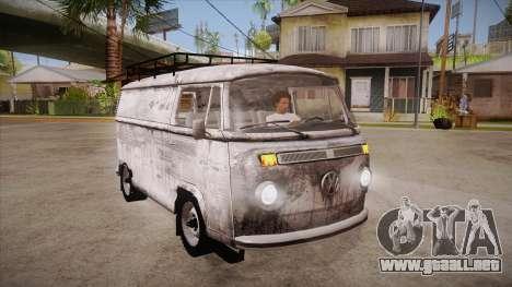 Volkswagen Transporter T2 Custom para GTA San Andreas vista hacia atrás