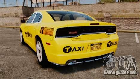 Dodge Charger 2011 Taxi para GTA 4 Vista posterior izquierda