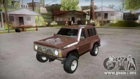 Nissan Patrol Y60 para vista inferior GTA San Andreas