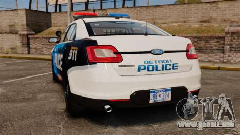 Ford Taurus 2010 Police Interceptor Detroit para GTA 4 Vista posterior izquierda